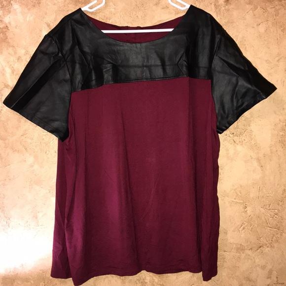 18e6ba7a31f657 Cato Tops | S Wine Colored Blouse W Leather Top 2628w | Poshmark
